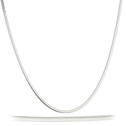 925 Sterling Silver 1.5mm Oval Snake Chain - Made in Italy