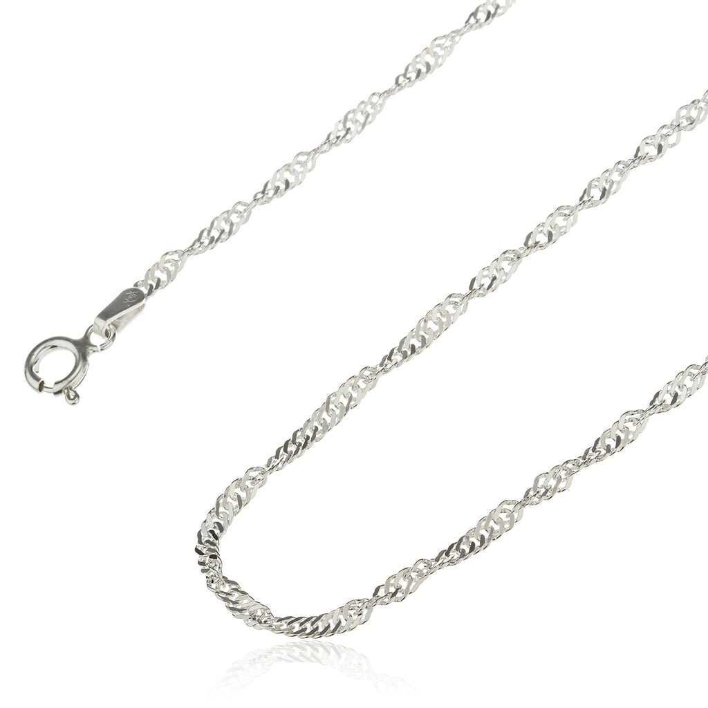925 Sterling Silver 2mm Singapore Chain...