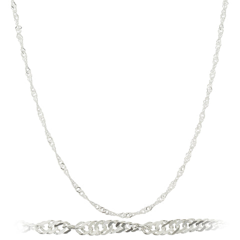 925 Sterling Silver 2mm Singapore Chain Necklace