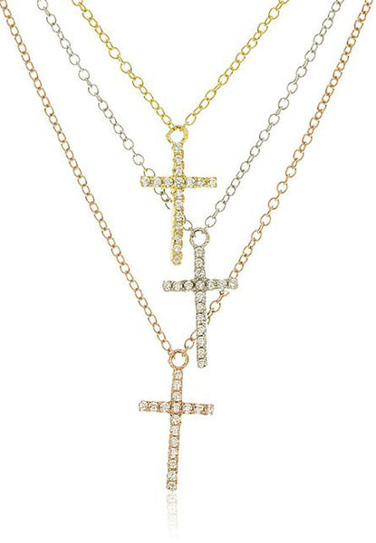 Real 925 Sterling Silver Layered Iced Out Mini Tritone Cross Charms with a 16 Inch Adjustable Link Necklace