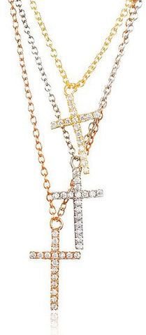 Real 925 Sterling Silver Tri-color 3 Row Cz Cross Pendant with a 16 Inch Necklace