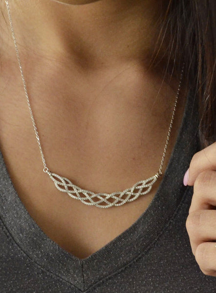 925 Sterling Silver Interwoven Design 18 Inch Necklace
