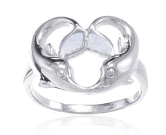 Real 925 Sterling Silver Created Opal White Dolphin Heart Design Ring (9)