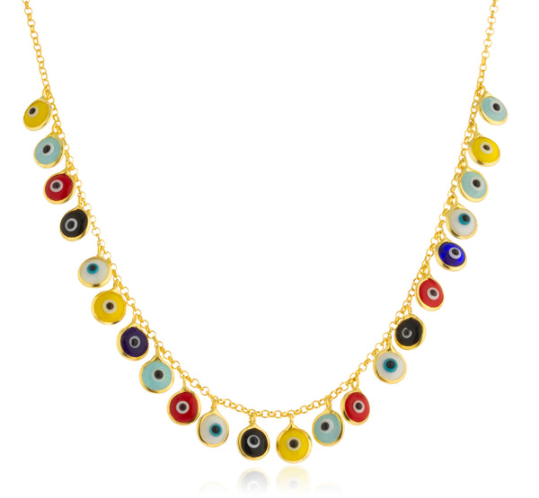 Real 925 Sterling Silver Multicolor Mini Evil Eyes Pendants Adjustable 16 Inch Rolo Necklace - Available in Goldtone and Silver (Goldtone)