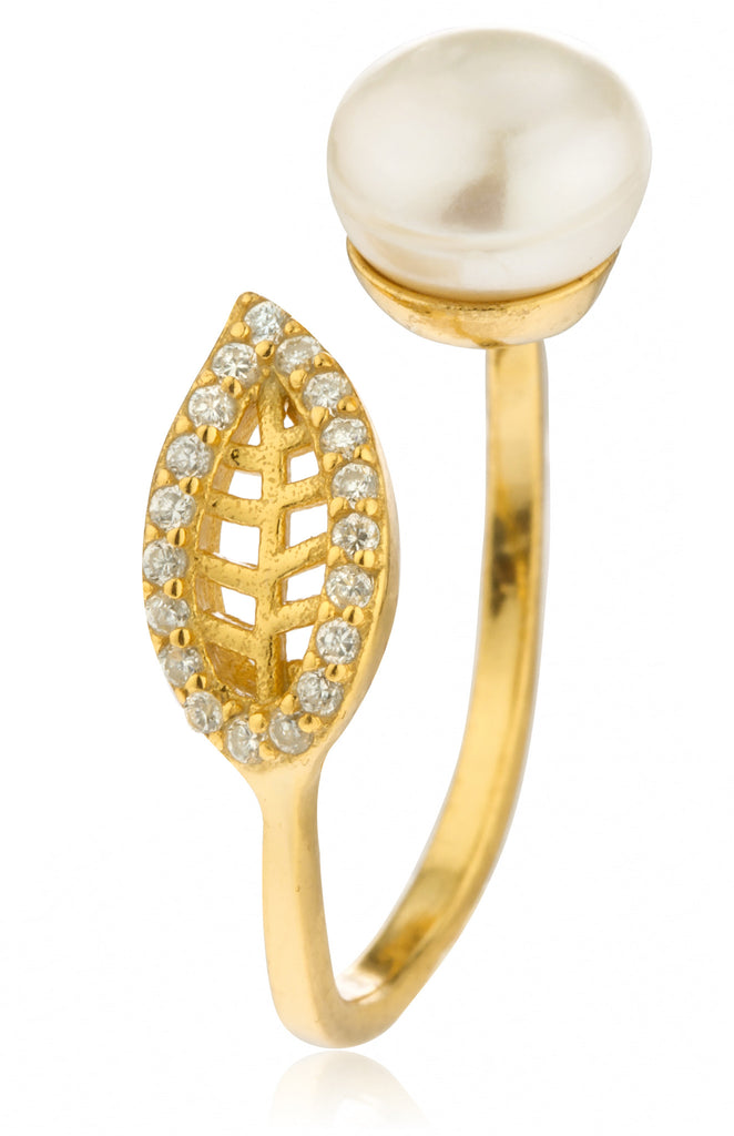 925 Goldtone Simulated Pearl and Leaf...