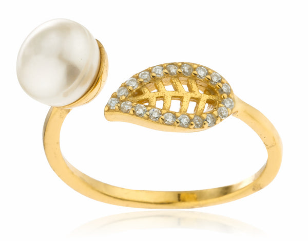 925 Goldtone Simulated Pearl and Leaf with Cz Stones Wrap Around Ring