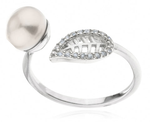 925 Sterling Silver Simulated Pearl and Leaf with Cz Stones Wrap Around Ring