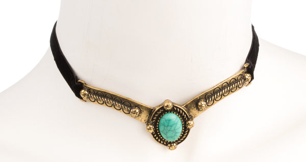 Antique Design Velvet Choker Necklace with Simulated Turquoise Pendant and Adjustable Closer