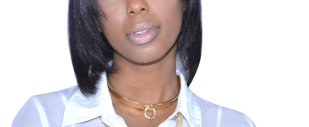 Goldtone Metal Bar Choker with Ring...