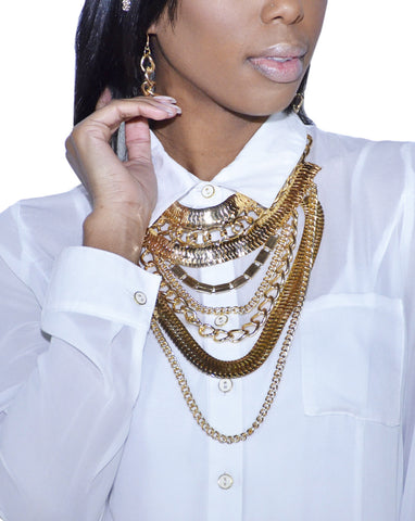 Adjustable Snake and Cuban Link Body Chain with Earrings Jewelry Set