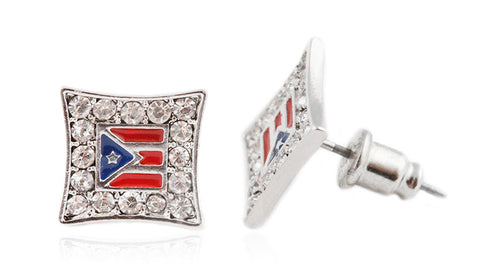 Silvertone with Red & Blue Iced Out Puerto Rico Flag Stud Earrings
