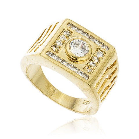 Men's Gold Layered Iced Out Square & Circle Stone Finger Ring Sizes 9-12