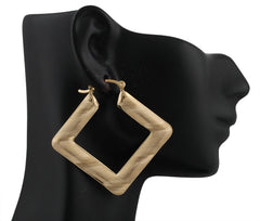 Two Year Warranty Gold Overlay Laser Cut Wave Pattern 2 Inch Square Hoop Pin Catch Earrings