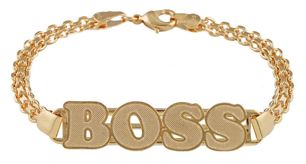 Two Year Warranty Gold Overlay 7.5 Inch Boss ID Link Bracelet