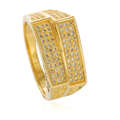 Men's Gold Layered Double Rectangle Finger Ring with CZ Stones