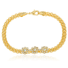 Two Year Warranty Gold Overlay with Clear Stones Flower Charms 7.5 Inch Lavish Bracelet