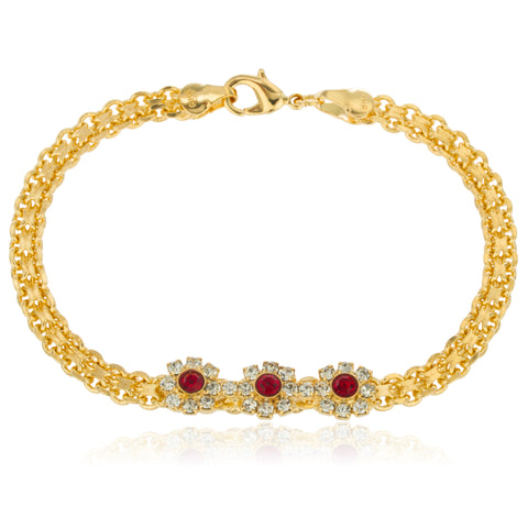 Two Year Warranty Gold Overlay with Clear and Red Stones Flower Charms 7.5 Inch Lavish Bracelet