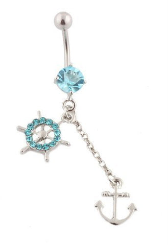 2 Pieces of Silvertone 316L Surgical Stainless Steel Blue Anchor and Ship Wheel Belly Ring