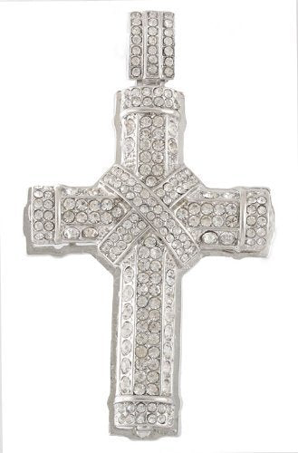 Silvertone with Clear Iced Out 3D Wrapped Cross Pendant