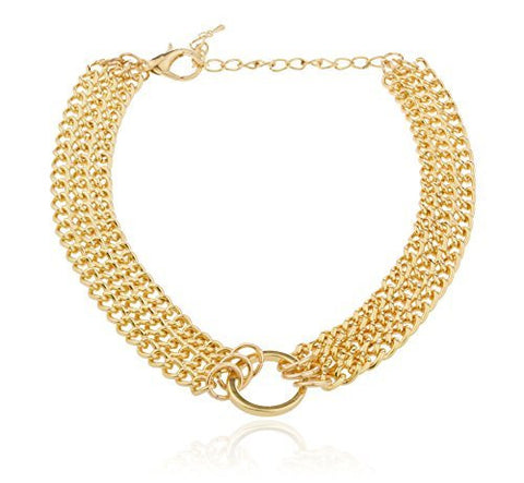 Adjustable Goldtone Layered Cuban Chain Circle Centered Choker Necklace & Earrings Jewelry Set