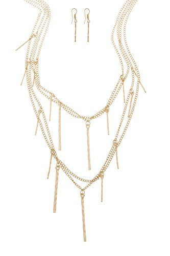 Adjustable Layered Necklace With Dangling Bars...