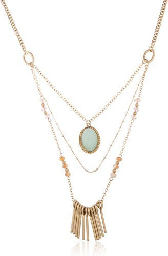 Antique Goldtone Layered Necklace With Centered Stone And Multi Colored Beads - Available In Mint & White