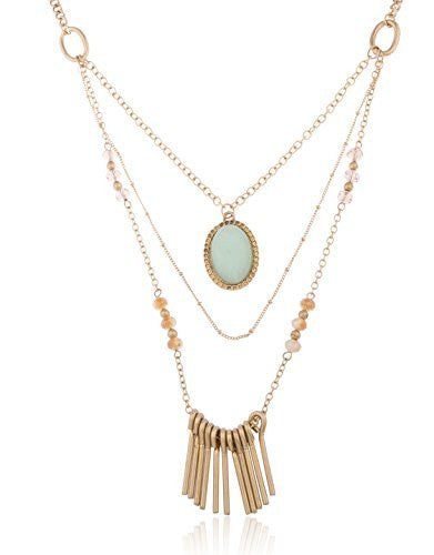 Antique Goldtone Layered Necklace With Centered...