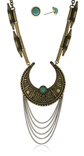 Antique Goldtone Tassel Necklace With Turquoise...