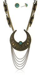 Antique Goldtone Tassel Necklace With Turquoise Stone Jewelry Set