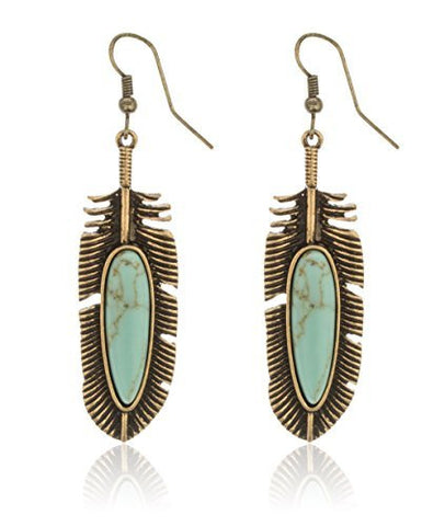 Antique Goldtone Turquoise Stone Leaf Dangle Earrings