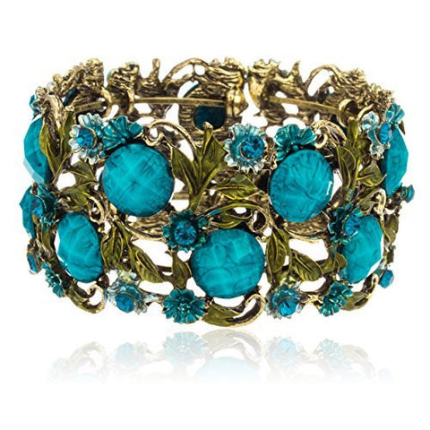 Antique Goldtone With Blue Ancient Flower Design Cuff Bangle With Crystals & Stones