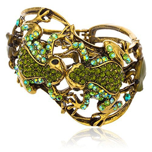 Antique Goldtone With Green Frog Design Cuff Bangle With Stones