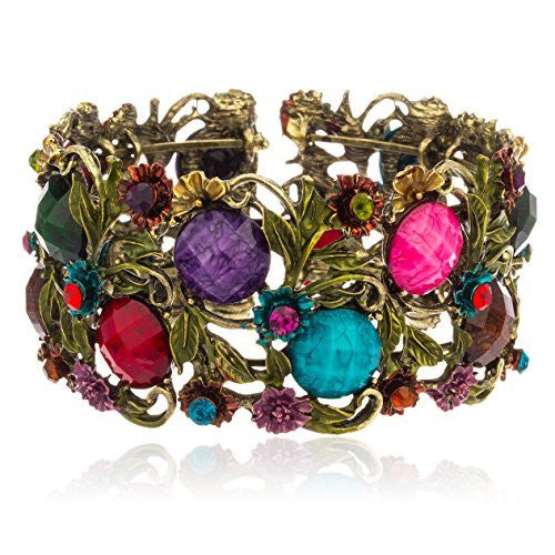 Antique Goldtone With Multicolor Ancient Flower...