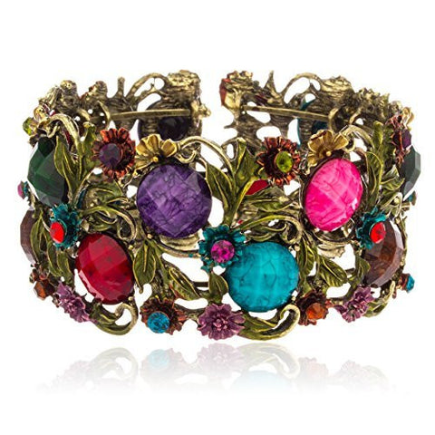 Antique Goldtone With Multicolor Ancient Flower Design Cuff Bangle With Crystals & Stones