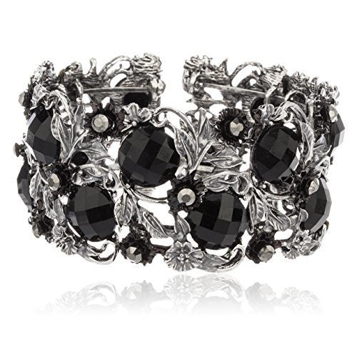 Antique Silvertone Ancient Flower Design Cuff...