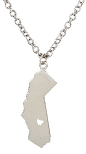 Antique Silvertone With A California State Shape Cut Out Heart Pendant 29 Inch Link Necklace