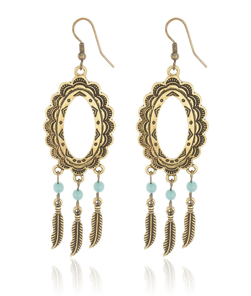 Antique Western Style Oval With Feathers And Turquoise Stones