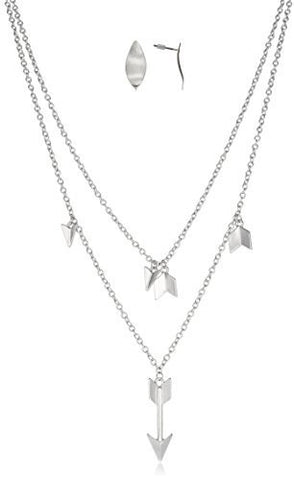 Arrow Pendant Link Necklace With Earrings Jewelry Set