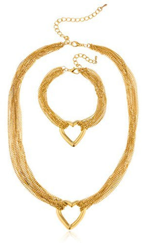 Goldtone Multi Strand Heart Necklace with a Matching Bracelet Jewelry Set