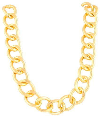 Ladies Aluminum Goldtone 24mm 18 Inch Adjustable Chunky Cuban Chain Necklace