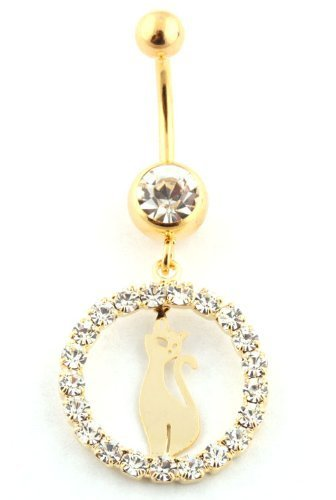 Goldtone Fully Iced Out Circle with Wild Cat and Clear Stone Surgical Stainless Steel Belly Ring