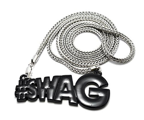 Black #Swag Pendant with a 4mm 36 Inch Franco Chain Swag Necklace Good Quality