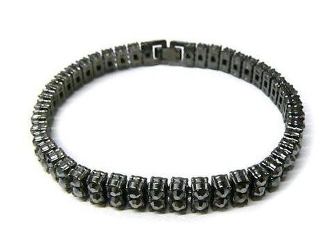 Black 8.25 Inch 2 Row Fully Iced Out Bracelet