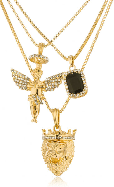 "Black, Blue, Or Red - Goldtone Simulated Gemstone With Angel And Lion Pendants , 24"" And 30"" Box Chain Layered Necklace Set (Black)"