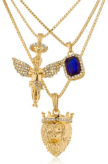 "Black, Blue, Or Red - Goldtone Simulated Gemstone With Angel And Lion Pendants , 24"" And 30"" Box Chain Layered Necklace Set (Blue)"