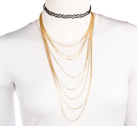 Black Elastic Stretch Choker With A Goldtone Multi Layer Link Chain Necklace