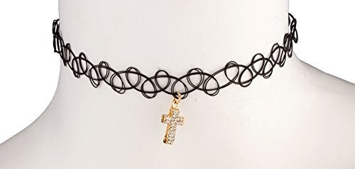 Black Elastic Stretch Choker With Goldtone Cross With Stones