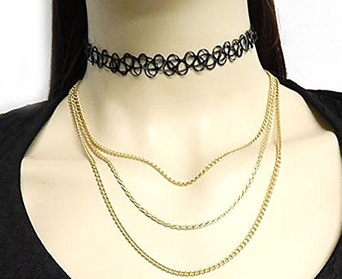 Black Elastic Stretch Choker With Goldtone Layered Chain Necklaces