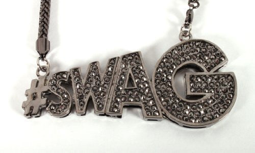 Black Iced Out #Swag Pendant With...
