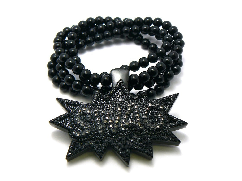 Black Iced Out Swag Pendant With...